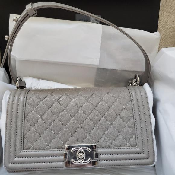 CHANEL Handbags - Chanel Gris Medium Boy Bag